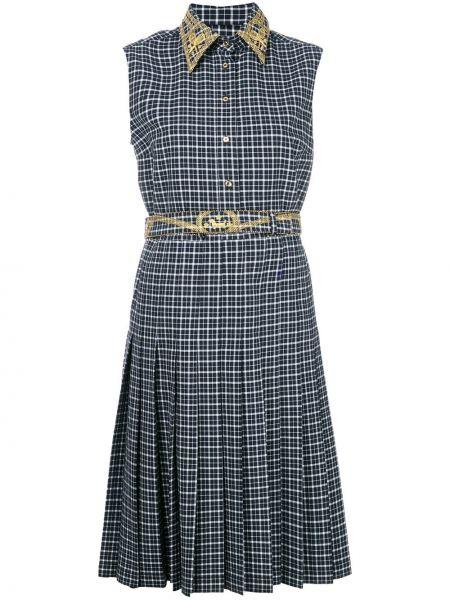 Платье с поясом с вышивкой с бисером Thom Browne