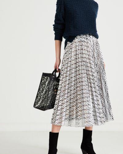 Плиссированная юбка шелковая с поясом Fendi