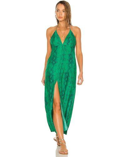Кожаное зеленое платье макси классическое Vix Swimwear