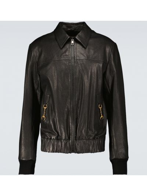 Кожаная куртка милитари - черная Gucci