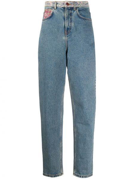 Хлопковые синие зауженные джинсы со вставками Philosophy Di Lorenzo Serafini