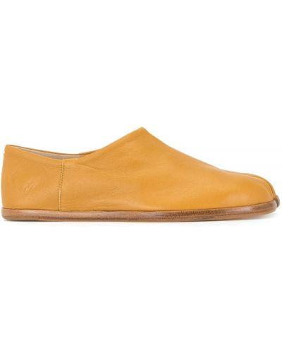 Желтые кожаные слипоны без застежки Maison Margiela