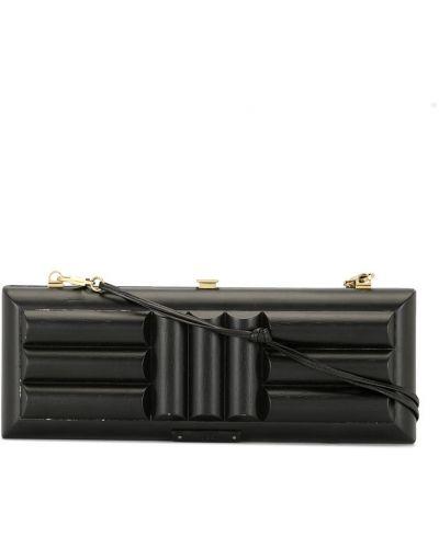 Золотистый кожаный черный клатч прямоугольный Gucci Pre-owned