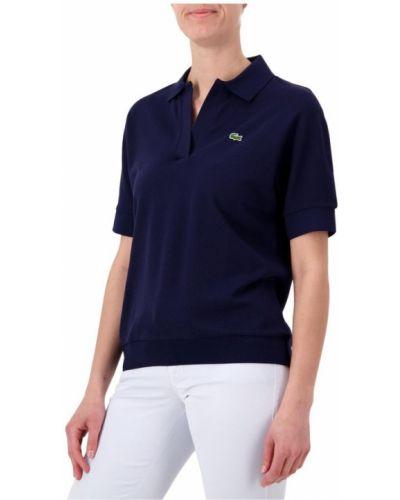 T-shirt z kołnierzem z haftem z mankietami Lacoste