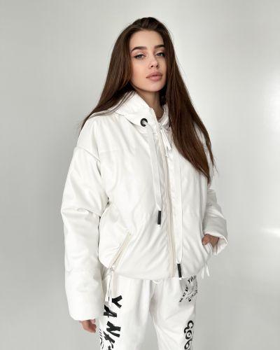 Кожаная куртка с капюшоном - белая Rozetka