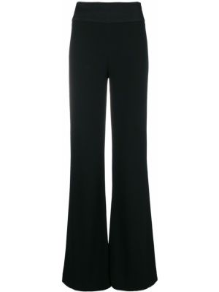 Czarne spodnie z wysokim stanem rozkloszowane Galvan