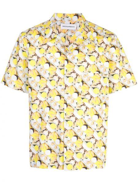 Żółta koszula krótki rękaw bawełniana Rochambeau