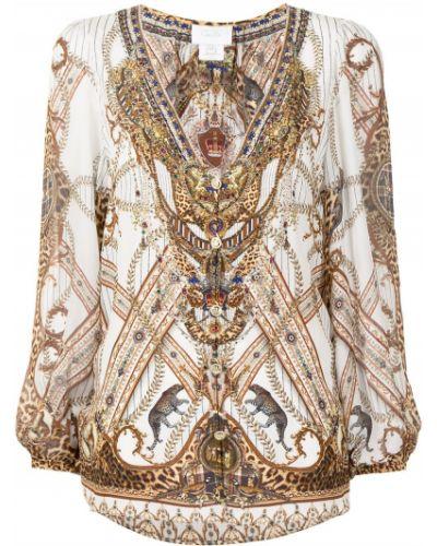 Bluzka koronkowa z długimi rękawami - biała Camilla
