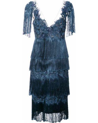 Синее платье с бахромой Marchesa Notte
