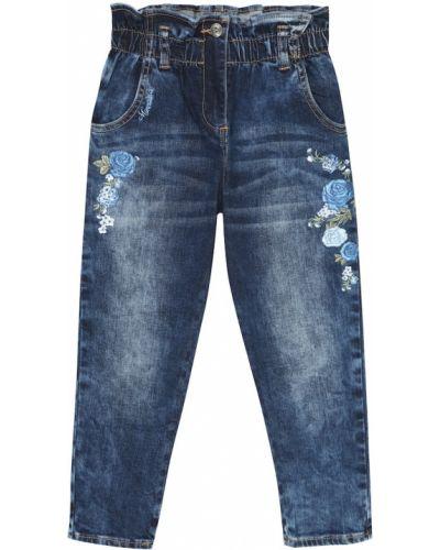 Ватные хлопковые синие прямые джинсы с вышивкой Monnalisa