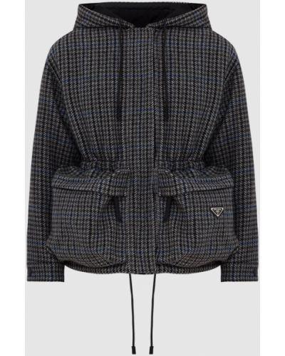 Куртка в клетку - серая Prada