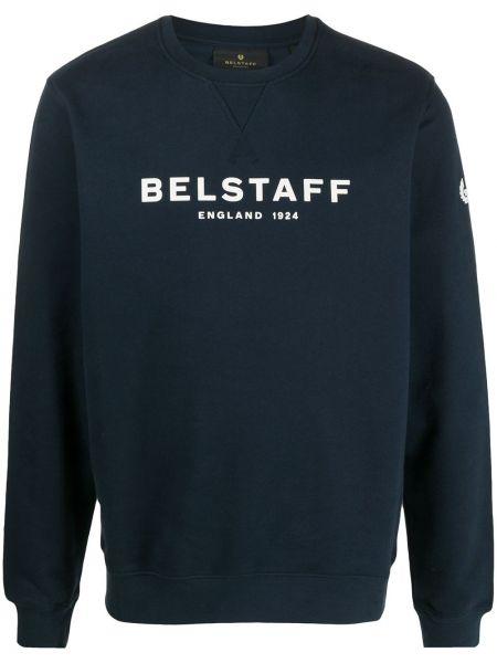 Bawełna niebieski bluza z długimi rękawami z łatami Belstaff