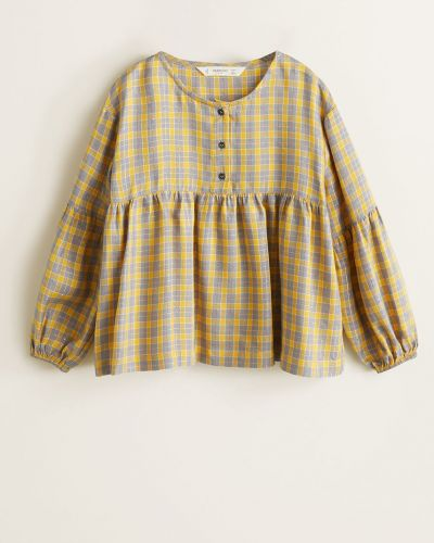 Желтая блуза короткая Mango Kids