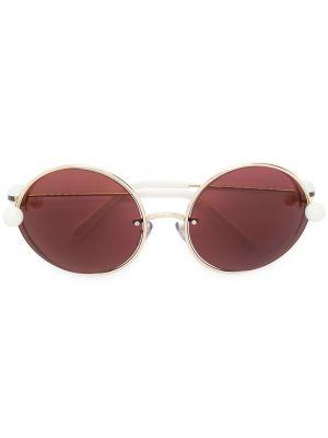 Прямые муслиновые желтые солнцезащитные очки круглые Marni Eyewear