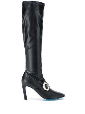 Czarny buty z ostrym nosem z prawdziwej skóry z klamrą Off-white