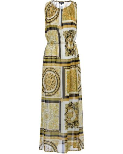 Шелковое белое платье макси Versace