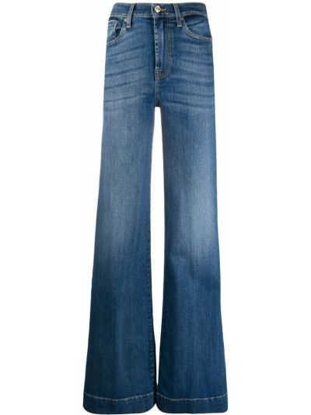 Хлопковые синие свободные джинсы свободного кроя 7 For All Mankind