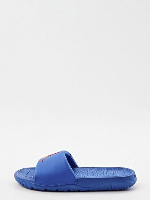 Синие кожаные шлепанцы Jordan