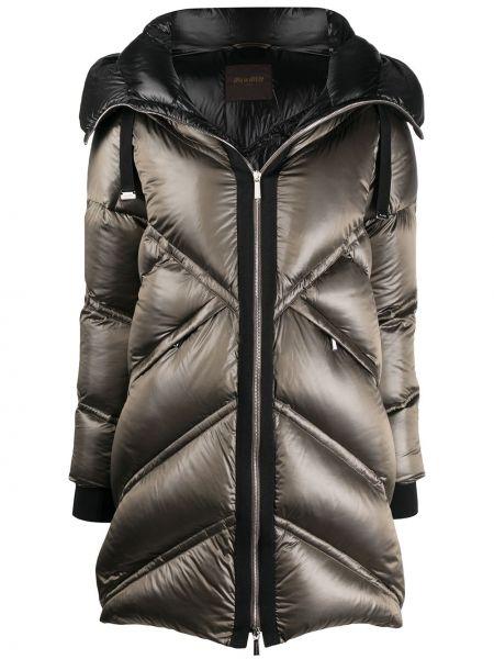 Серое пуховое пальто классическое с капюшоном Moorer