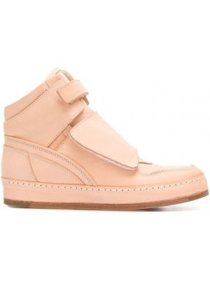 Кожаные розовые кроссовки на платформе на плоской подошве Hender Scheme