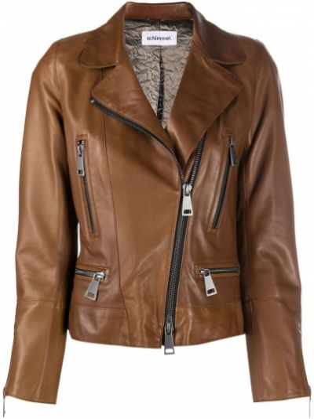 Коричневая кожаная длинная куртка байкерская Sylvie Schimmel
