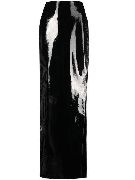 Czarny skórzany spódnica maxi z ozdobnym wykończeniem David Koma