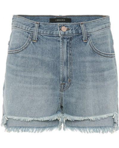Синие однобортные повседневные джинсовые шорты со стразами J Brand