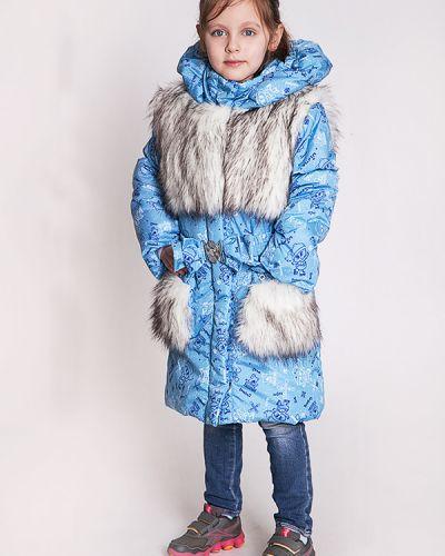 Пальто с капюшоном на синтепоне голубое Lacywear