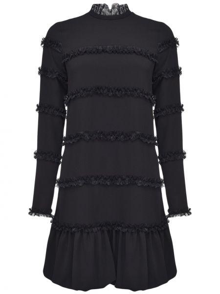 Расклешенное черное платье макси с длинными рукавами Pinko
