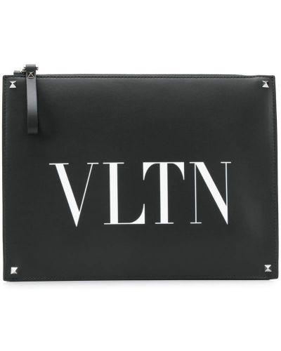 Клатч кожаный черный Valentino