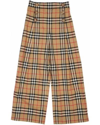 Bawełna spodnie na gumce z kieszeniami z łatami wysoki wzrost Burberry