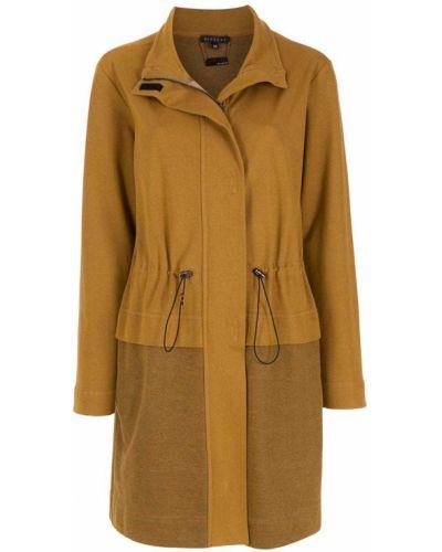 Прямое коричневое длинное пальто с воротником Alcaçuz
