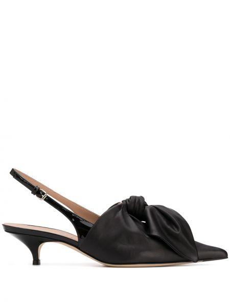 Туфли на каблуке черные кожаные Lanvin