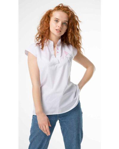 Блузка с вышивкой - белая Innoe