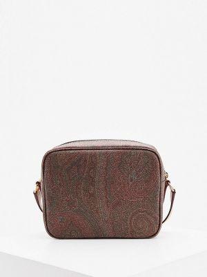 Кожаная коричневая сумка через плечо Etro