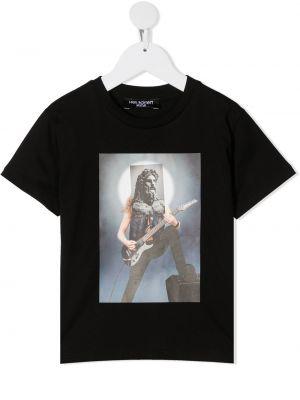 Хлопковая черная футболка свободного кроя с круглым вырезом Neil Barrett Kids
