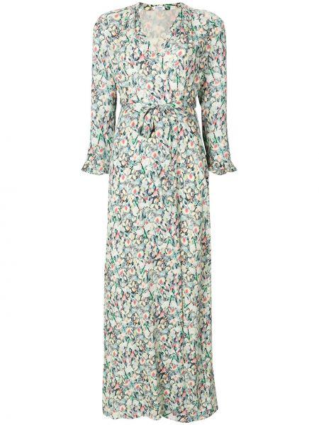 Зеленое шелковое платье с запахом Vilshenko