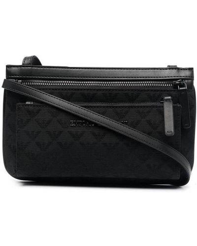 Czarna torebka crossbody z paskiem z printem Emporio Armani