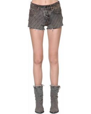 Однобортные джинсовые шорты со стразами Filles A Papa
