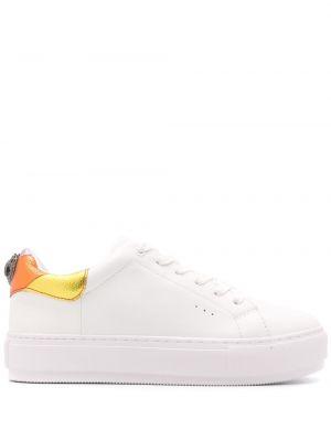 Кожаные белые кроссовки на шнуровке Kurt Geiger London