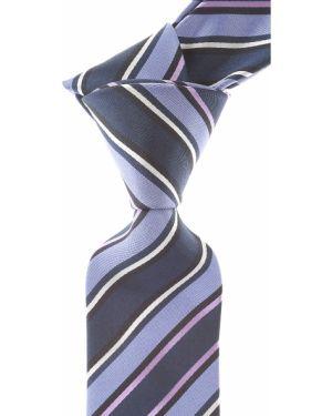 Niebieski krawat w paski z jedwabiu Christian Lacroix