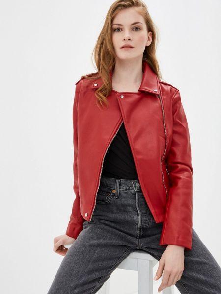 Кожаная красная кожаная куртка Mango