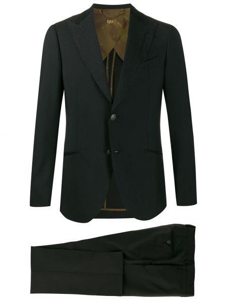 Черный костюмный костюм деловой свободного кроя на пуговицах Maurizio Miri