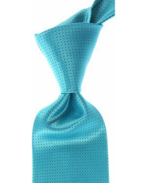 Niebieski krawat z jedwabiu Isaia