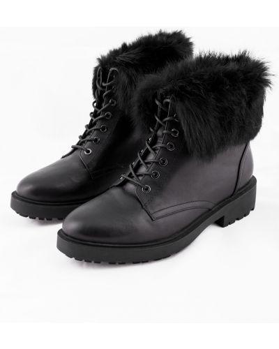 Черные кожаные ботинки на шнуровке Just Couture