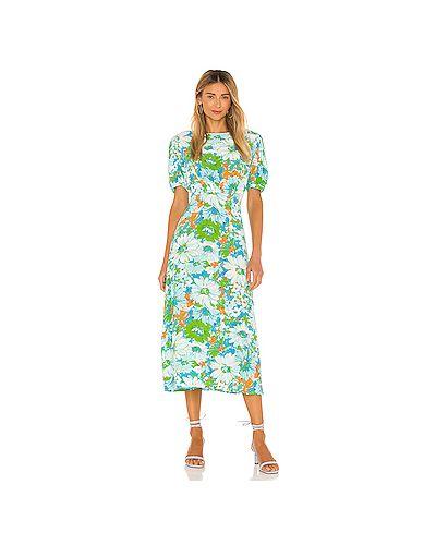 Зеленое шелковое платье миди на молнии с вырезом Faithfull The Brand