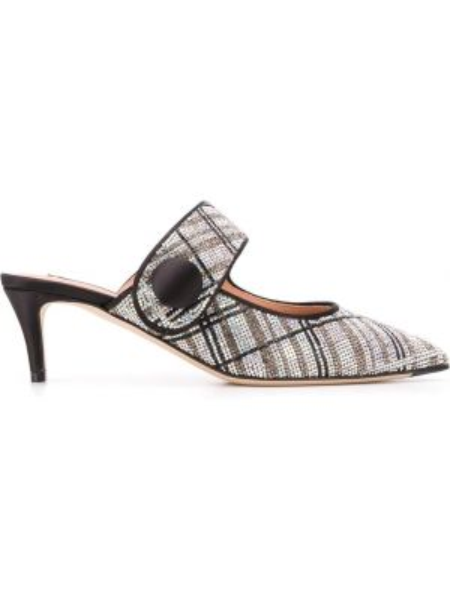 Серебряные кожаные мюли на каблуке Marco De Vincenzo