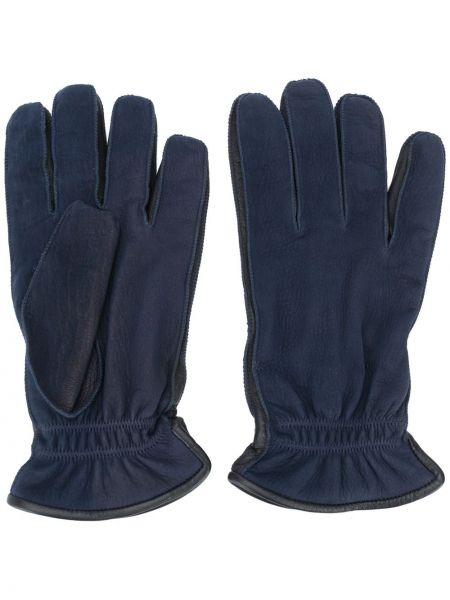 Niebieski skórzany rękawiczki z prawdziwej skóry za pełne Ermenegildo Zegna