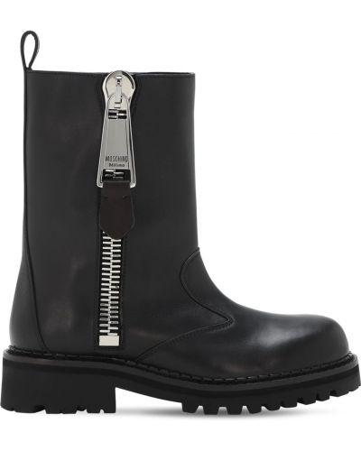 Czarny buty skórzane prążkowany z prawdziwej skóry Moschino