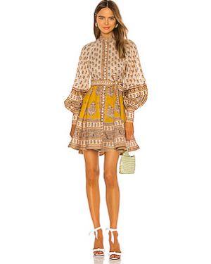 Платье мини на пуговицах с поясом Zimmermann